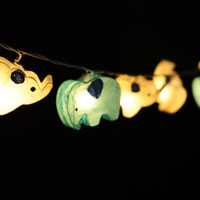 20 x White and baby blue  handmade Elephant zoo animal plant paper lantern string light kid bedroom light display garland colorful