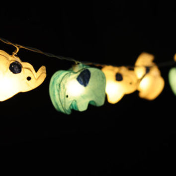 20 x handmade white and baby blue cute Elephant zoo animal plant paper lantern string light kid bedroom light display garland colorful
