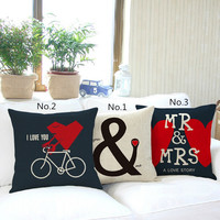 45x45cm Vintage Cotton Linen Wedding Home Decor Cushion Pillow Covering Case-Mr&Mrs  Lover Gift