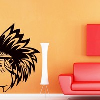 Wall Decals Indian Native American Man Decal Vinyl Sticker Decal Home Decor Bedroom Interior Window Decals Living Room Art Murals Chu1396