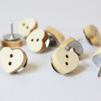Heart Thumb Tacks Wood Push Pins Wood Heart Thumbtacks Bulletin Board Shabby Chic Office Supplies Neutral Dorm Room Decor Gift / Set of 20