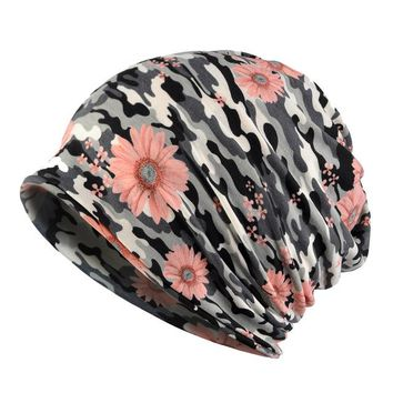 Women Floral Cotton Spring Summer Beanie Hat Chemo Cap Stretch Slouchy Sports Baggy Slouch Skullies Breathable Scarf Face Mask