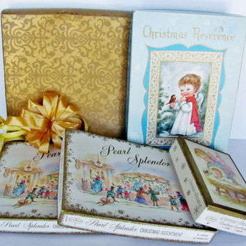 Vintage Christmas Boxes For Gift Giving, Templates, Holiday Decor, Greeting Cards, Graphics Five Gold Cardboard Containers Various Sizes
