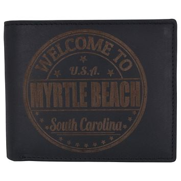 Bifold Mens RFID Cowhide Leather Myrtle Beach Flap Card/ID Wallet