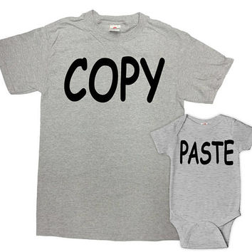 Daddy And Me Outfits Dad And Son Shirt Father Daughter Gifts Matching T Shirts Fathers Day New Dad TShirt Copy Paste Bodysuit - SA808-809