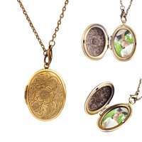 Bronze Flower Pattern Photo Frame Locket Party Dress Necklace Pendant#60405