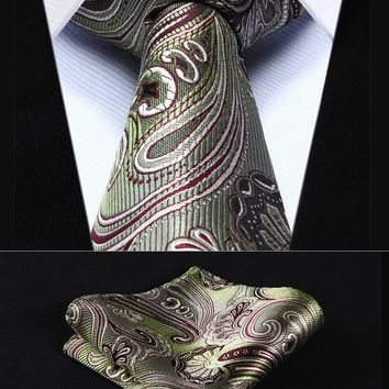 "TP923T8S Olive Green Paisley 3.4"" Silk Woven Men Tie Necktie Handkerchief Set Party Wedding Classic Pocket Square Tie"