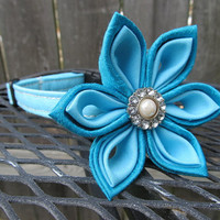 Dog Collar and Flower - MADE TO ORDER Classic Baby Blue with Silk Dark blue and Cotton light blue Flower