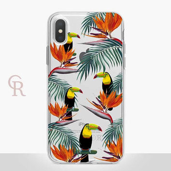 Toucan Floral Clear Phone Case For iPhone 8 iPhone 8 Plus iPhone X Phone 7 Plus iPhone 6 iPhone 6S  iPhone SE Samsung S8 iPhone Transparent