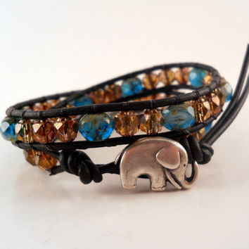 Sea Blue Gold Topaz Leather Wrap Bracelet, Good Luck Elephant Button, Chan Luu Inspired, PZW043