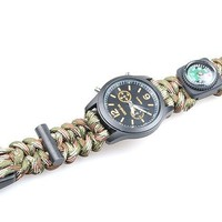 Watch Survival Flint Fire starter paracord Compass Whistle Gear Buckle rescue rope Bracelet