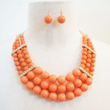 Embellished Beaded Wrap Necklace & Earrings Set