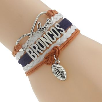 Weave Braided Multi Layered Broncos Football Bracelet