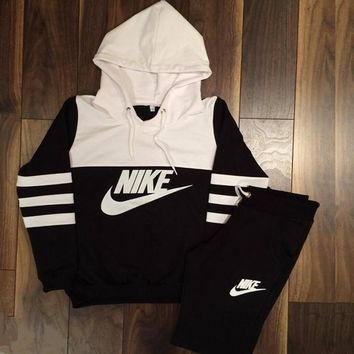 "Women's Fashion ""NIKE"" Print Hoodie Top Sweater Pants Sweatpants Set Two-Piece Sportswears"