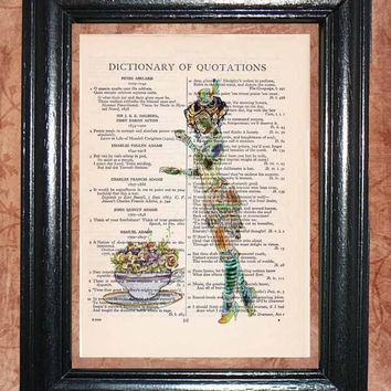 1800's British Tea Party Lady and Flowery Tea Cup - Vintage Dictionary Book Page Art Unique Upcycled Page Art Wall Decor Art Print