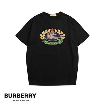 Burberry 2019 early spring new classic embroidery logo men and women round neck short-sleeved T-shirt Black