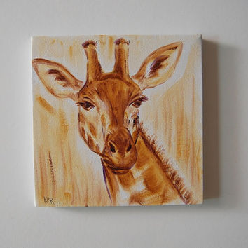 Giraffes Painting Original. Neutral Colors. Wildlife Art. Great mothers day gift Summer Art