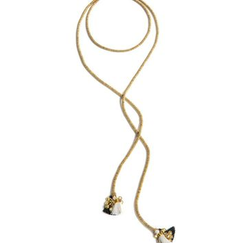 Long Lariat Necklace with Fringed Ends