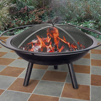 "28"" Black Portable Fire Pit With Ring And Spark Screen"