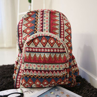 Fashion Floral Print Geometric Canvas Backpack-pink