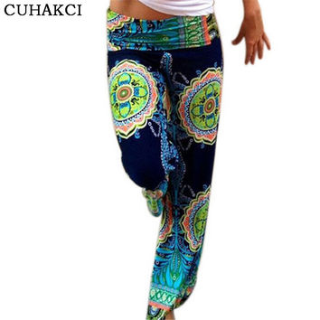 New Pant Abstract Flowers Vintage Sportswear Wide Leg Pants Belly Dance Bohemian Female Breathable Clothing Ladies Trousers K108