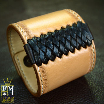 Leather cuff Bracelet American Western Saddle wristband Handcrafted in NYC Hand stitched Braided and Stamped