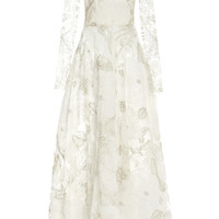 White And Metallic Lace Embroidered Tulle Long Sleeve Dress by Monique Lhuillier - Moda Operandi