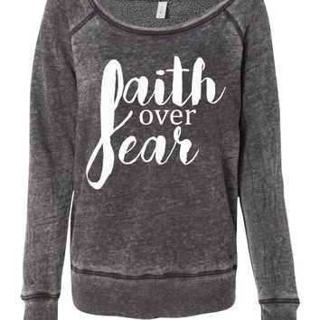 Faith Over Fear Christian Women's Wideneck Sweatshirt