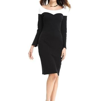 Black Back Zipper Women's Long Sleeve Dress