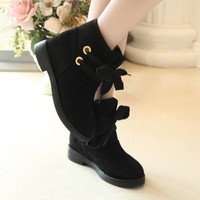 New Women Black Round Toe Chunky Lace-up Casual Boots