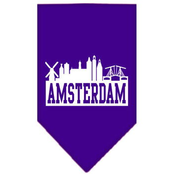 Amsterdam Skyline Screen Print Bandana Purple Large