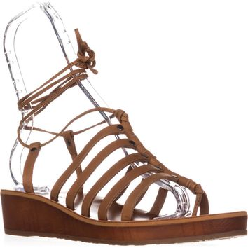 Lucky Brand Hulumi Ankle Strap Low Wedge Sandals, Brown Sugar, 10 US / 40 EU