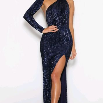 Far From Over Navy Blue Sequin Long Sleeve One Shoulder Cut Out Backless Fit And Flare Maxi Dress