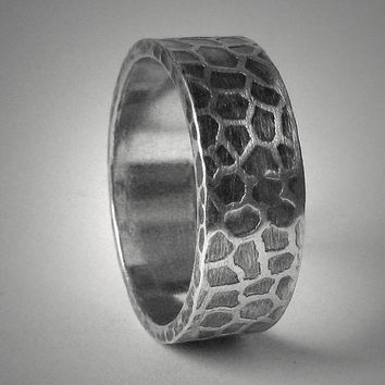 Men's rustic wedding band - custom handmade sterling silver organic unisex ring