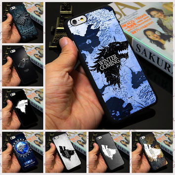 Stark Jon Snow White Wolf Logo The Game Of Thrones phone case cover for iPhone 7 4 4s 5 5s 5c 6 6s plus