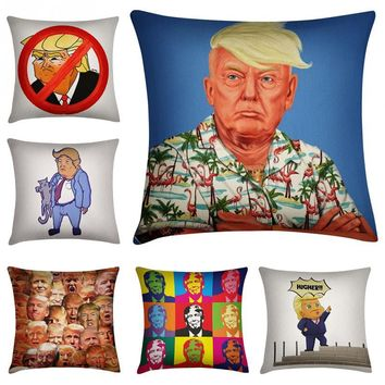 Lovely cute Donald Trump USA President Invisible Zipper Square Polyester Fiber Home Decorative Linen Pillow Cover Case 45x45cm