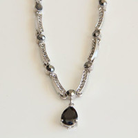 Black Swarovski Teardrop & silver Wedding Necklace