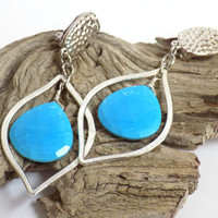 Clip on Earrings for Women, Turquoise Earrings, Silver Teardrop Earrings, Large Earrings, Handmade Gemstone Jewelry, Handcrafted Jewelry