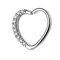 BodyJ4You 16G (1.2mm) Daith Earring Paved CZ Heart Silvertone Tragus Helix Cartilage Hoop Body Jewelry