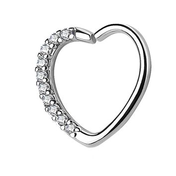 BodyJ4You 16G (1.2mm) Daith Earring Paved CZ Heart Silver Tragus Helix Cartilage Hoop Body Jewelry