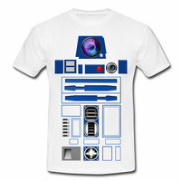 Funny Geek Star Wars R2D2 Robot Droid with lens graphic Adult Unisex white, Gray or Black Gildan Short Sleeves T-shirt, youth size available
