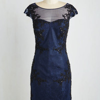 Mid-length Cap Sleeves Sheath Perfectly Pristine Dress in Navy