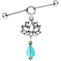 Handcrafted Lotus Industrial Barbell Created with Swarovski Crystals