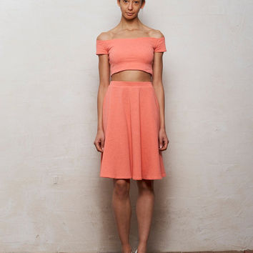 Mix n Match Coco Crop Top and Skater Skirt Set in Pastel Coral Pink