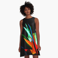 'oiseau de Paradis abstrait/abstract bird of Paradise' Robe trapèze by clemfloral
