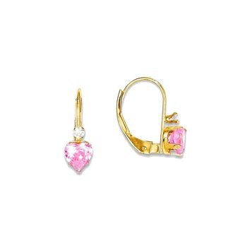 14k Yellow Gold Madi K. Clear/Pink CZ Heart Leverback Earrings