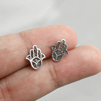 925 Sterling Silver Hamsa Stud Earrings - Hamsa Jewelry, Hand of fatima, Hamsa Hand Earrings, Silver Stud Earrings, Hamsa Hand Post Earrings