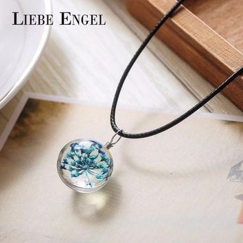 ONETOW LIEBE ENGEL 5 Colors Dried Flower Glass Necklaces & Pendants Wax Rope Choker Necklace Statement Necklace Women Collares Jewelry
