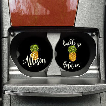 Car Cup Holder Coaster, Pineapple Coaster, Sweet 16 Gift, Mothers Day Gift, Monogrammed drink, Custom Car Coaster, Personalized, (CAR0015)