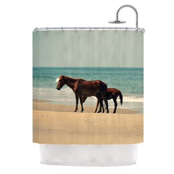 "Robin Dickinson ""Sandy Toes"" Beach Horses Shower Curtain"